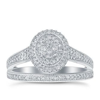 9ct white gold 1/3ct diamond halo bridal ring set - Product number 1641700