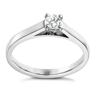 18ct white gold 1/4ct diamond solitaire 4 claw ring - Product number 1642707