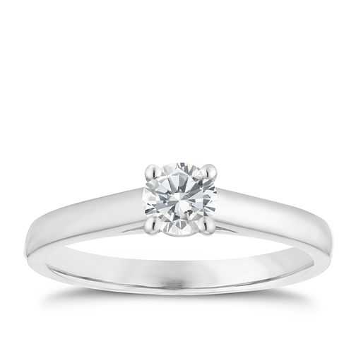 18ct white gold 0.33ct diamond solitaire 4 claw ring - Product number 1642839