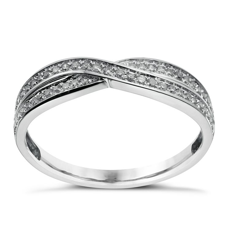 9ct white gold crossover 15 point diamond wedding ring product number 1644424 - Ring Wedding