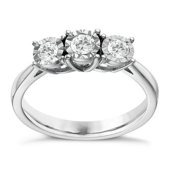 9ct white gold 1/3ct diamond 3 stone illusion set ring - Product number 1646192