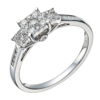 9ct white gold 1/3ct diamond triple square cluster ring - Product number 1647156