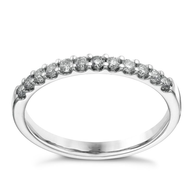 9ct White Gold 025ct Diamond Claw Set Eternity Ring
