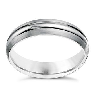 9ct white gold men's matt & polished 5mm ring - Product number 1651331