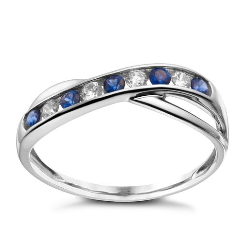 9ct white gold created sapphire & cubic zirconia ring - Product number 1654330