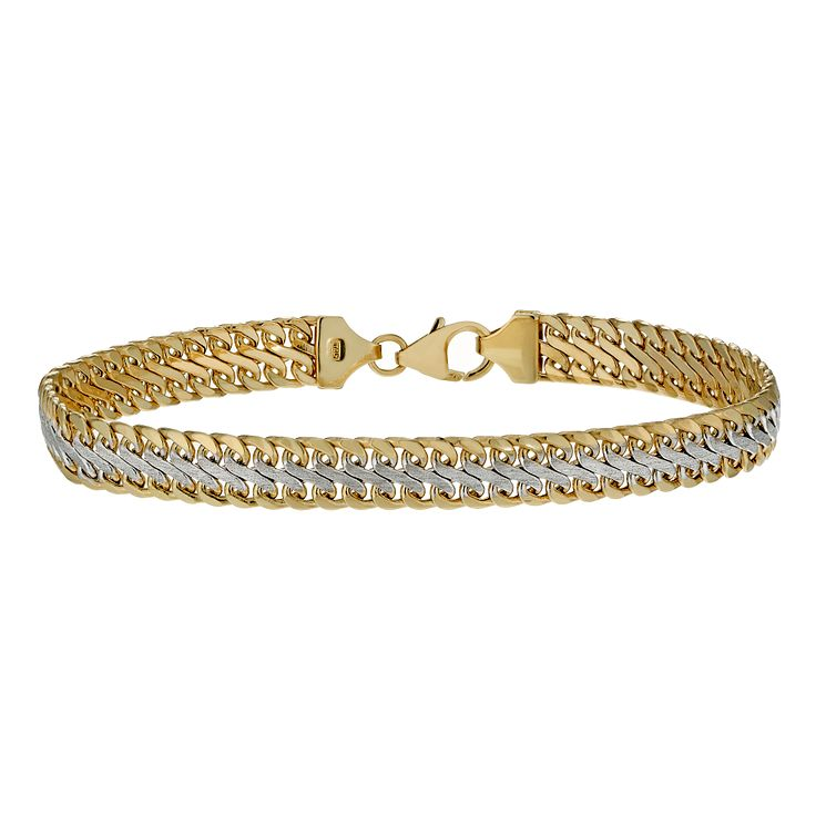9ct gold two tone polished bracelet - Product number 1654721