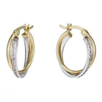 9ct gold two colour cubic zirconia twisted creole earrings - Product number 1655914