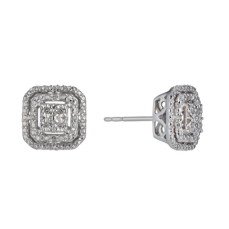 Sterling Silver Diamond Square Stud Earrings - Product number 1665030