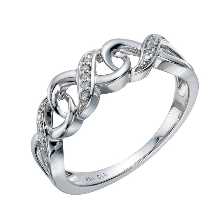 Argentium Silver Diamond Eternity Kiss Ring - Product number 1665626