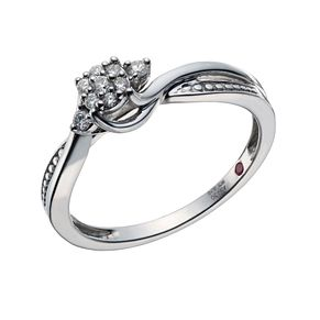 Cherished Argentium Silver 1/10 Carat Diamond Cluster Ring - Product number 1668080