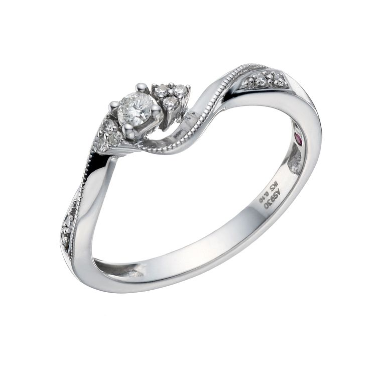 Cherished Argentium Silver 1/10 Carat Diamond Solitaire Ring - Product number 1668935