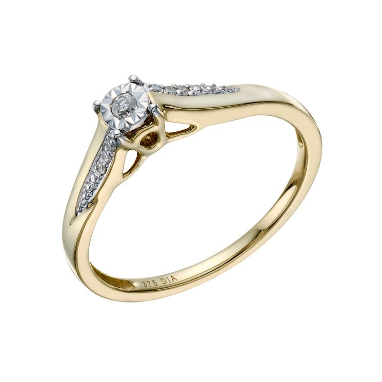solitaire round engagement jewellery ring dp in yellow ct gold diamond rings