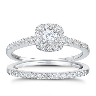 Tolkowsky 18ct White Gold 1/2ct I-I1 Diamond Bridal Set - Product number 1674196