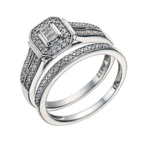 9ct White Gold 1/4 Carat Diamond Perfect Fit Bridal Set - Product number 1679562