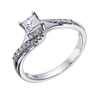 18ct White Gold 1/2 Carat Princess Diamond Solitaire Ring - Product number 1680250