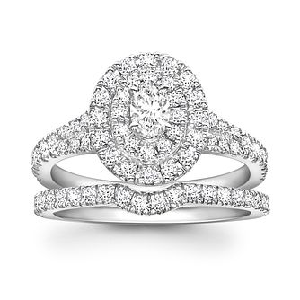 Neil Lane 14ct White Gold 0.80ct Oval Diamond Halo Ring   Product Number  1691791