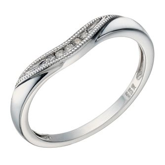 9ct White Gold Diamond Shaped Milgrain Ring - Product number 1693875