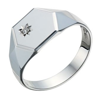 Sterling Silver Diamond Set Signet Ring - Product number 1704923