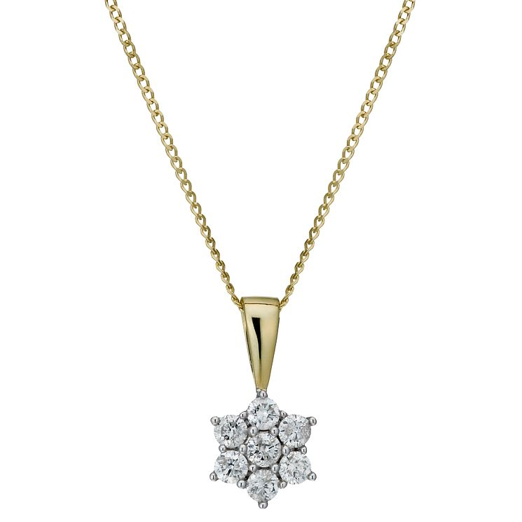 9ct gold 0.25ct diamond flower pendant - Product number 1711547
