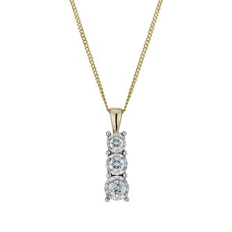 9ct gold & white gold 0.25ct diamond illusion pendant - Product number 1713639