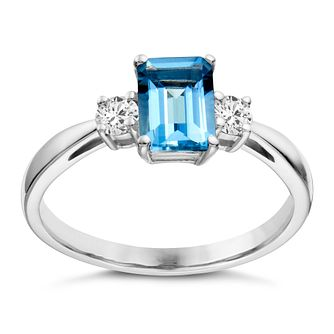 18ct white gold aquamarine & 15 point diamond ring - Product number 1714058