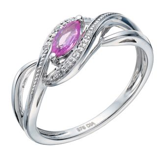 9ct white gold pink sapphire & diamond ring - Product number 1721577