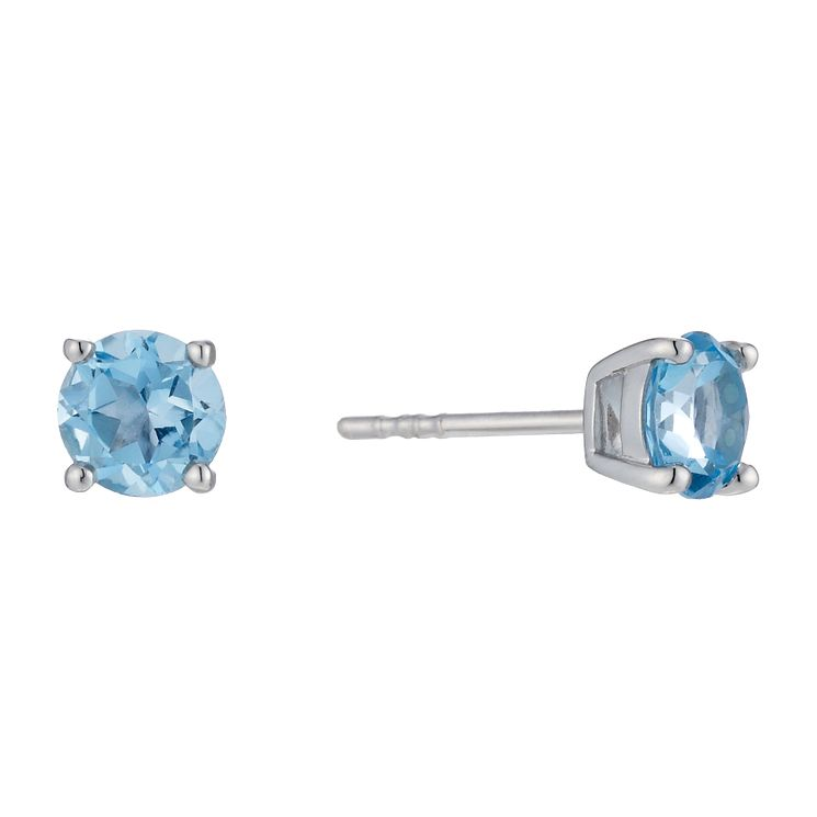 9ct white gold blue topaz stud earrings - Product number 1734210