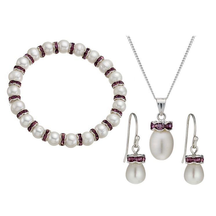 Silver-Plated Crystal Bracelet, Pendant & Drop Earrings Set - Product number 1734857