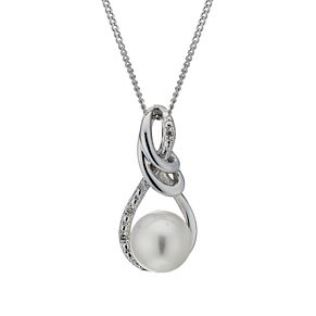 "9ct White Gold Certified Pearl & Diamond 18"" Swirl Pendant - Product number 1734946"