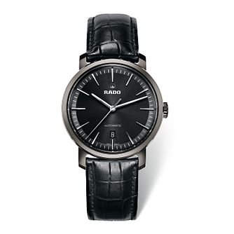 Rado men's titanium automatic black leather strap watch - Product number 1735063