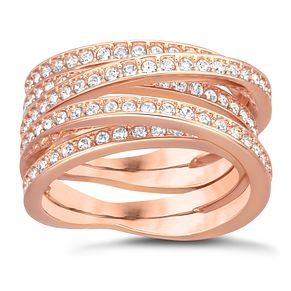 Swarovski rose gold-plated crystal spiral ring size N - Product number 1738585
