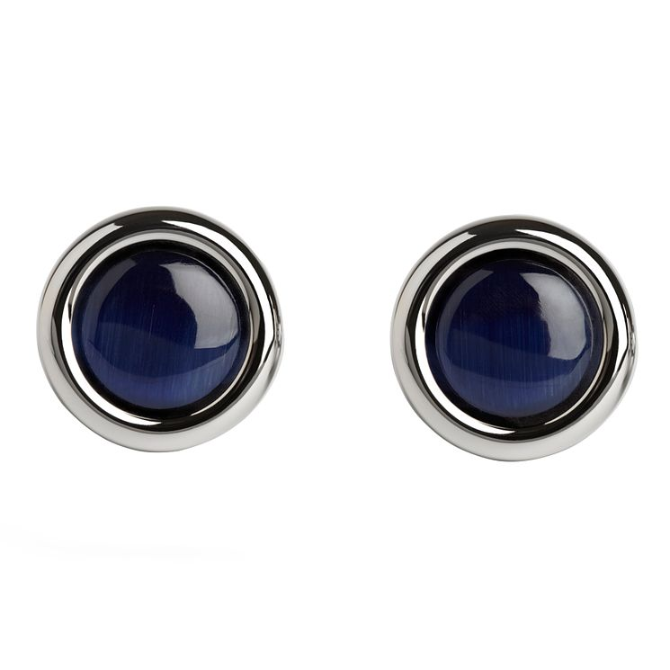 Simon Carter stainless steel navy circle cufflinks - Product number 1746170