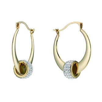 9ct Gold Crystal Bead Creole Earrings - Product number 1748483