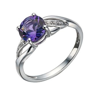 9ct White Gold Amethyst & Cubic Zirconia Twist Ring - Product number 1748653