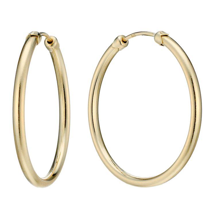 9ct Gold 26mm Medium Hoop Earrings