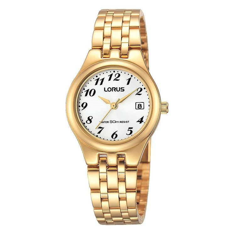 Lorus Ladies' White Dial Gold-Plated Bracelet Watch - Product number 1769081