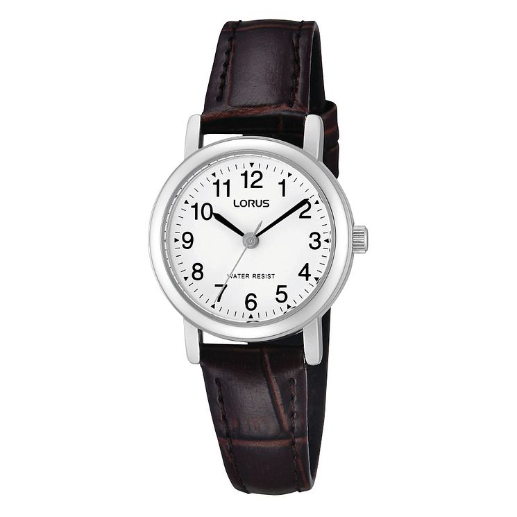 Lorus Ladies' White Dial Brown Leather Strap Watch - Product number 1769189