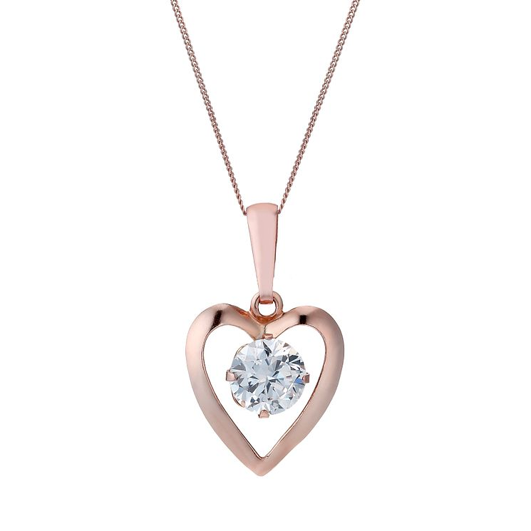 "9ct Rose Gold Cubic Zirconia Heart 16"" Pendant - Product number 1769332"