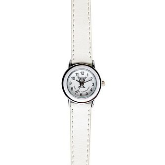 Cailin Communion Stainless Steel White Leather Strap Watch - Product number 1771876