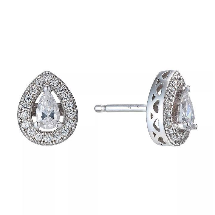 Sterling Silver Cubic Zirconia Pear Shaped Stud Earrings - Product number 1773666