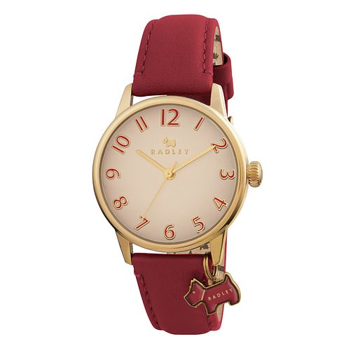 Radley Ladies' Scottie Dog Charm Coral Leather Strap Watch - Product number 1775170
