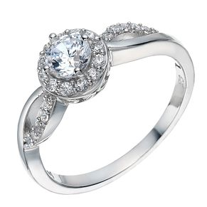 Sterling Silver Cubic Zirconia Solitaire Halo Ring Size N - Product number 1782657
