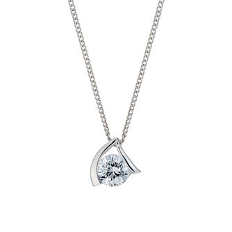 Sterling Silver Cubic Zirconia Upside Down V Pendant - Product number 1782762