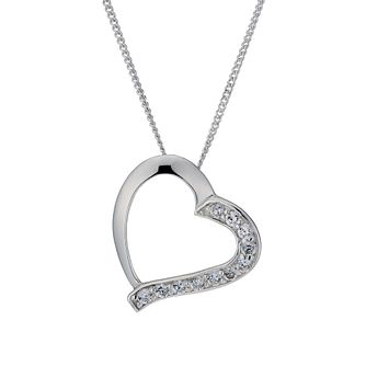 Sterling Silver Cubic Zirconia Sideways Heart Pendant - Product number 1783165