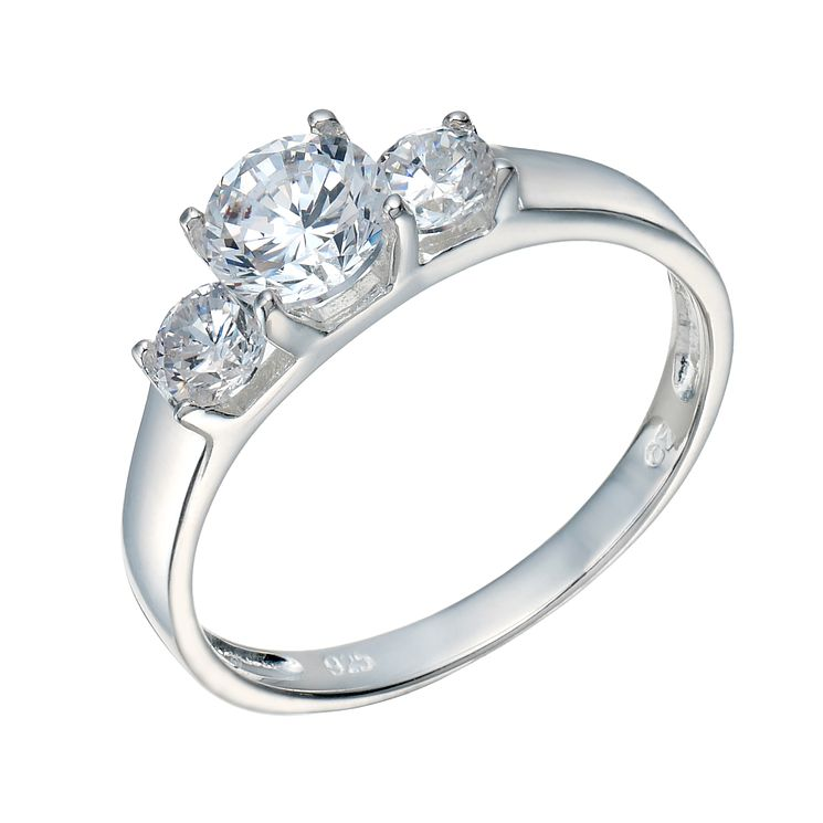 Sterling Silver Cubic Zirconia 3 Stone Ring Size N - Product number 1783262