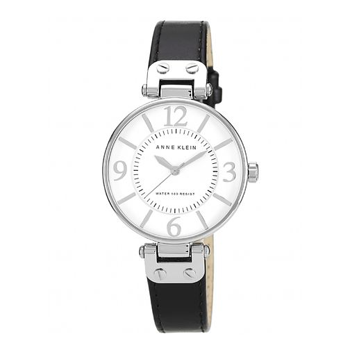 Anne Klein Ladies' White Dial Black Leather Strap Watch - Product number 1838784