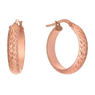 9ct Rose Gold Round Diamond Cut Creole Earrings - Product number 1846388