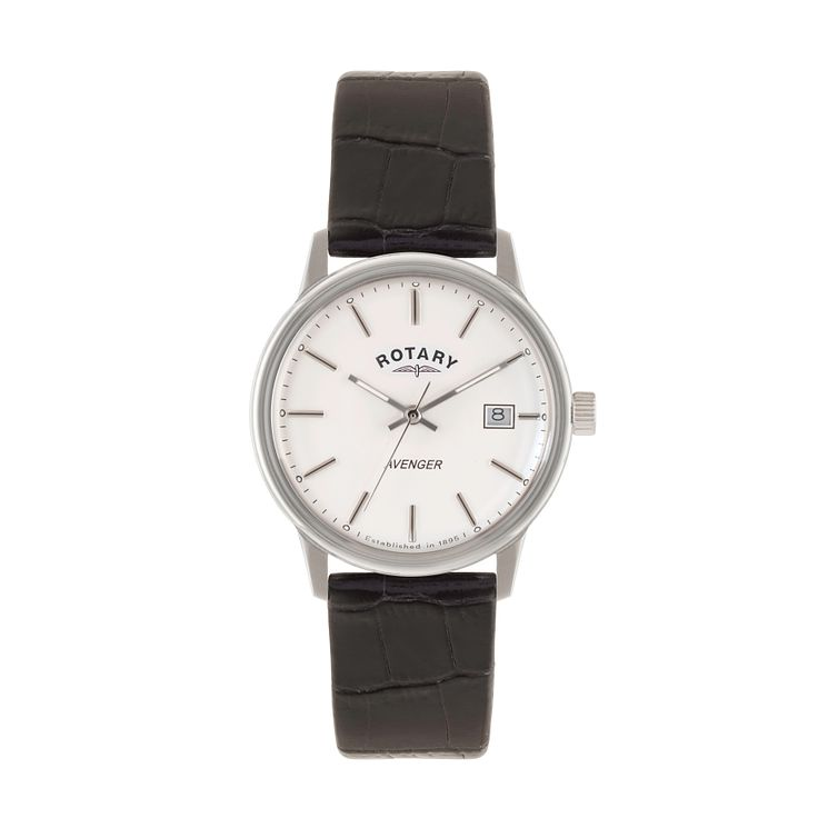 Rotary Avenger men's white dial black leather strap watch - Product number 1933310