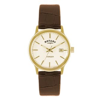Rotary Avenger men's white dial brown leather strap watch - Product number 1933337