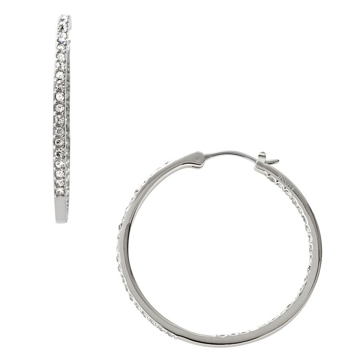 Fossil stainless steel stone set hoop earrings - Product number 1937359